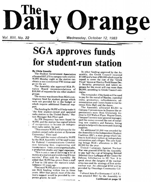 1983 Daily Orange Article