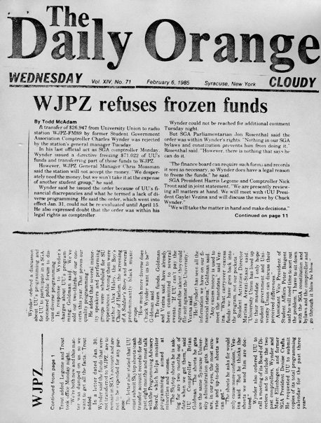 1985 Daily Orange Article
