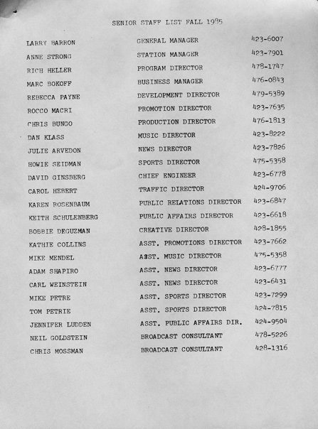 1985 Senior Staff List