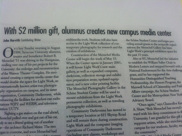 Newspaper Article about $2 Million Gift